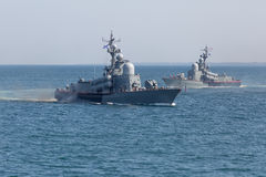 Two naval ships in the sea Royalty Free Stock Photos