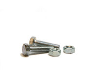 Two nead bolt and two screw-nut Royalty Free Stock Photo