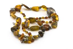 Two necklaces made of amber Royalty Free Stock Images