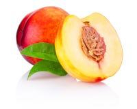 Two nectarine fruit  on white background Royalty Free Stock Image