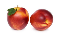 Two nectarines. Isolated on white background Royalty Free Stock Photography