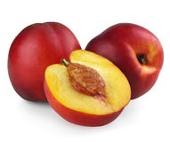 Two nectarines with half Stock Photo
