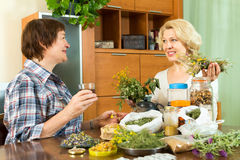 Two  neighbors drinking herbal tea Royalty Free Stock Images