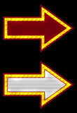Two neon arrow. Two neon arrow on a black background royalty free illustration