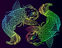 Two neon fish catfish on a gradient background. Two neon bright bright catfish on a dark gradient background. Japanese style Royalty Free Stock Photography