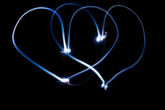 Two neon hearts Royalty Free Stock Photo