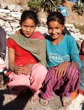 Two nepalese children, young girls, in western Nepal Royalty Free Stock Photography