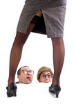 Two nerd guys watching a striptease. Two nerd guys showing addiction to a striptease Stock Image