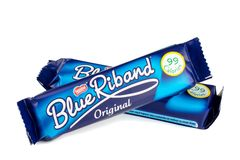 Two Nestle Blue Riband Biscuits Stock Images