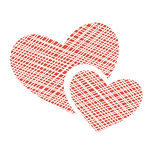 Two netting hearts on white Stock Photos