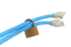 Two network cables secured with padlock (shallow DOF) Royalty Free Stock Image