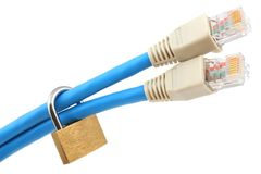Two network cables secured with padlock (shallow DOF) Stock Photos