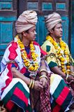 Two nevaris priests in Bhaktapur, Nepal stock image
