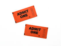 Two New Admit One Tickets. Isolated on white background stock photos