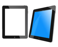 Two new Apple iPad black glossy and chromed. Blue screen and white screen royalty free illustration