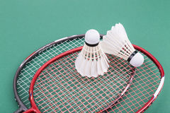Two new badminton shuttlecock with rackets on green mat court Stock Image