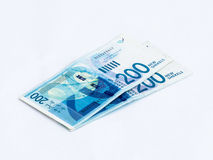 Two new banknotes worth 200 Israeli new  shekels on a white background Royalty Free Stock Photos