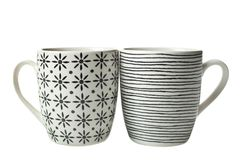 Two new beautiful scandinavian style cups. Isolated on white. Concept cup of tea, tableware royalty free stock photos