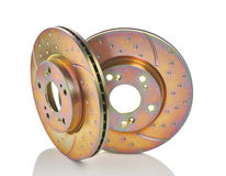Two new car brake disks isolated on white background. Royalty Free Stock Photography