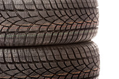 Two new car tires in studio Stock Photo
