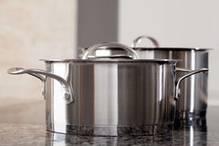 Two new clean aluminum professional pots Royalty Free Stock Photography