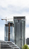 Two New Glass Towers Construction Stock Photo