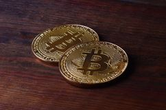 Two new golden physical bitcoins lies on dark wooden backgound, close up. High resolution photo. Cryptocurrency mining concep. T Royalty Free Stock Photo