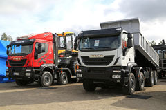 Two New Iveco Trakker Trucks on Display royalty free stock image
