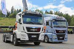 Two New MAN TGS and TGX Trucks in a Show stock images