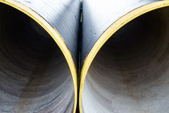 Two new metal pipes. Close up Royalty Free Stock Images