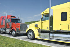 Two New Semi Trucks Stock Photo