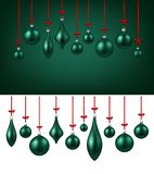 Background with green Christmas balls. Two New Year backgrounds with green Christmas balls. Vector illustration Stock Image