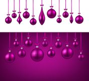 Background with pink Christmas balls. Two New Year backgrounds with pink Christmas balls. Vector illustration Royalty Free Stock Photo