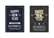 Two New Year invitations to a club party. Vector illustration in a flat style Stock Photo
