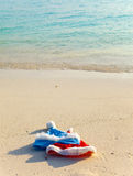 Two New Year s caps of Santa Claus on beach. Two New Year's caps of Santa Claus on beach.Close up in a sunny day royalty free stock photos