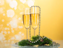Two New Year's glasses with champagne Stock Photos