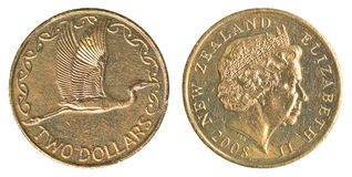 Two New Zealand Dollars coin Royalty Free Stock Photos
