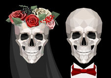Two newlywed skulls Royalty Free Stock Photography