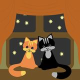 Two nice cats on windowsill Royalty Free Stock Images