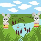 Two nice fishing hares with robs Stock Images