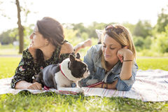 Two friends woman with terrier dog outside at the park. Two nice friends women with terrier dog outside at the park Royalty Free Stock Photo