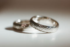 Two nice silver wedding rings Royalty Free Stock Photography