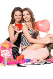 Two nice young girlfriends. Isolated Royalty Free Stock Photo