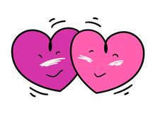 Two Nicely Pink Heart Falling in Love Stock Photography