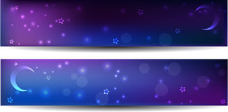 Two night banners with stars and moon Stock Photography