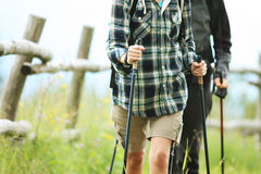 Two nordic walkers. Close up of two nordic walkers outdoors Royalty Free Stock Images