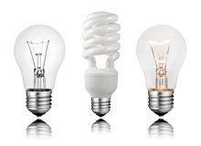 Two Normal and One Saver Lightbulbs stock photo