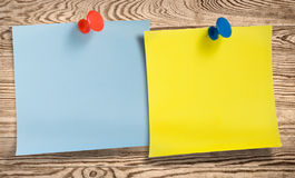 Two note papers with thumbtacks Stock Photography