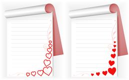 Two notebook with hearts Royalty Free Stock Images