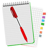 Two notebooks with colored bookmarks and red pen. Two notebooks with colored bookmarks and  red  pen on a white background Stock Photos